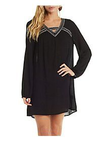 Embroidered Gauzy Shift Dress