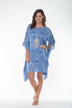 Boho Silk Collection ~ Blue & White Kaftan Ladli Australia  Hand block printed pure silk kaftan.