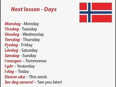 Norwegian words for days of the week