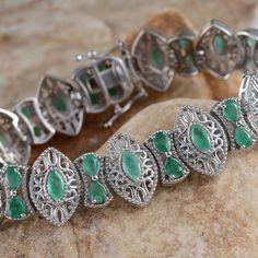 Kagem Zambian Emerald Bracelet in Platinum Overlay Sterling Silver (Nickel Free)