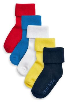 Buy Five Pack Boys Bright Roll Top Socks (0-18mths) from the Next UK online shop