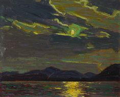 "Thomson probably painted this scene as he sat in his canoe on the water. ""Hot Summer Moonlight,"" 1915, National Gallery of Canada."