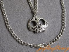 Cute Skull Necklace -  Antique Silver Skull Necklace, Hollow out skull necklace - L057. $2.99, via Etsy.