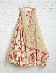 Glad I came across this one.SwatiManish Lehengas SMF LEH 201 17 Vanilla floral lehenga with sequin dupatta and matching blouse Floral Lehenga, Red Lehenga, Party Wear Lehenga, Lehenga Choli, Anarkali, Sarees, Lehenga Blouse, Indian Attire, Indian Wear