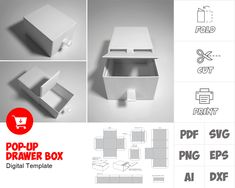 cupcake boxes diy how to make ; Box Templates Printable Free, Paper Box Template, Origami Templates, Printable Paper, Diy Crafts For Gifts, Foam Crafts, Box Packaging, Packaging Design, Packaging Dielines