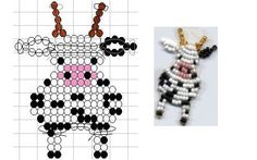 Seed Bead Cow Pattern Source by Pony Bead Projects, Pony Bead Crafts, Seed Bead Crafts, Beaded Crafts, Seed Bead Jewelry, Pony Bead Patterns, Beading Patterns Free, Beaded Jewelry Patterns, Bracelet Patterns