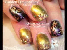 Gold Dragonfly Bling Nail Art by Robin Moses :D