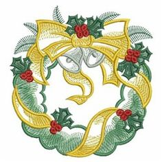 Sweet Heirloom Embroidery Design: Christmas Wreath 3.83 inches H x 3.61 inches W