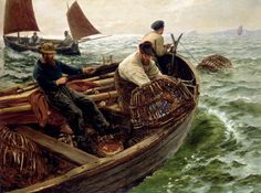 Sea fishing paintings. Charles Napier Hemy - Lands End Crabbers