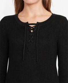 Lauren Ralph Lauren Lace-Up Sweater - Herbal Milk M