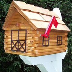 Cedar Log Cabin Mailbox