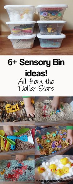 6+ Sensory Bins for under $30 from the Dollar Store – with tons of other ideas!  #sensorybins #sensoryplay #easysensoryplay #dollarstoreactivities #sensorybin #sensorybinlist