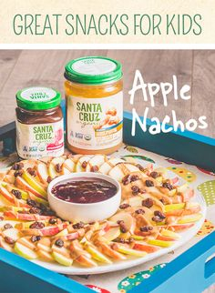 Time to make snack-time fun again! Here's an idea: Next time you start to make loaded nachos, substitute traditional fixings with Santa Cruz Organic® Light Roasted Creamy Peanut Butter, apples, raisins and a bit of Santa Cruz Organic® Strawberry Fruit Spread. The variation tastes delicious and is a perfect after-school snack!