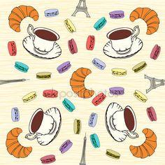 Скачать - Бесшовный паттерн с французский миндальное печенье, круассаны и черный co — стоковая иллюстрация #25115475