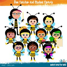 Bee Teacher and Student ClipartsBee Teacher and Student Cliparts is a fun teacher and student in costumes of a bee.Included in this Product:  10 Full Colored items 10 Black and white items 20 pieces clip art in total Each clipart saved separately in 10x10 300 dpi PNG files, transparent background*Colors might be slightly different due to different screen color settings.All documents have been uniquely created and designed by me and are for personal use only and cannot be used commercially…