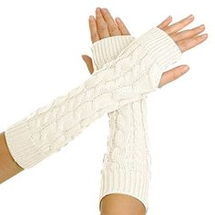 Eforcase Women Lady Girl Knitted Crochet Long Soft gloves Winter Warmer Braided Arm Fingerless Gloves Stretchy Wamer Knitting Thumb Hole Gloves Mittens Winter Hand Warmer Great gift for Xmas(White) Eforcase http://www.amazon.com/dp/B00OLLXKVU/ref=cm_sw_r_pi_dp_BpWgvb0BV16EH