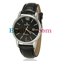 Men's Calendar Black Round Dial Pu Leather Band Quartz Analog Wrist Watch : Online Shopping for Watches, Toys & more