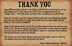 Thank You For A Great Festival Season in 2014!
