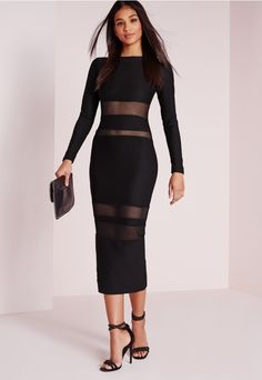 Hot damn girl, you'll be lookin' fresh this weekend in this killer bodycon-tagious midi dress. We all love a little black dress and this long sleeved beaut with mesh insert features is the top of our wish list this season. In a figure flatt...