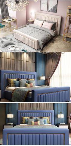 Bed Headboard Design, Tall Headboard, Bedroom Bed Design, Small Bedroom Designs, Bedroom Furniture Design, Headboards For Beds, Bedroom Decor, Contemporary Bedroom, Modern Bedroom