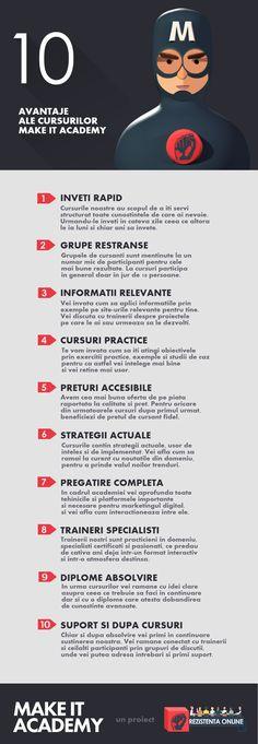 De ce sa urmezi Make It Academy Online Marketing, Digital Marketing, Infographic, Infographics, Visual Schedules