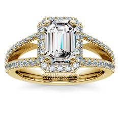 Ready to pop the question? Do it with the Halo Split Shank Emerald-cut Diamond Ring in classic Yellow Gold... A sparkling vintage-style treat for the Queen of your heart.  http://www.brilliance.com/engagement-rings/halo-split-shank-diamond-ring-yellow-gold