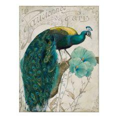 Les Paons II Vintage Peacocks Art Nouveau Poster