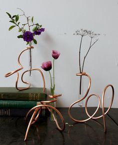Copper tubing bud vases