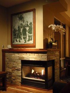 Honey Ledgestone Fireplace with Walnut mantle modern living room