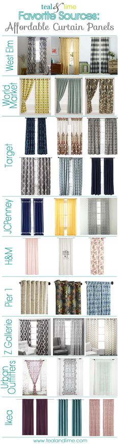 10 Favorite Sources for Curtain Panels Under $50.... I like to buy ready made panels and use them just for their fabric.