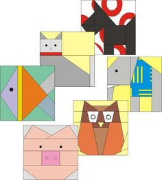 Quilting: Set of six animals paper pieced blocks  http://www.craftsy.com/pattern/quilting/other/set-of-six-animals-paper-pieced-blocks/6896