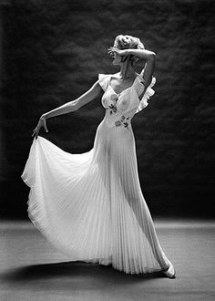 1950 Mark Shaw black and white and lovely Vanity Fair gown