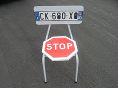 Original Industrial Design Upcycled Chair STOP by SecondUpcycle