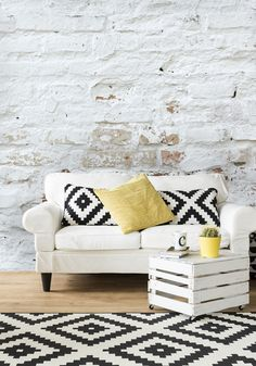 Create that oh-so-effortless cool vibe in your home with a stunning distressed brick wallpaper. Available from wallsauce.com in 3 different materials including a removable, self-adhesive that doesn't require paste. Priced per square foot. Source: wallsauce.com