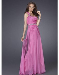 2011 Style Sheath / Column One Shoulder Beading Sleeveless Floor-length Chiffon Prom Dresses / Evening Dresses (SZ015115 )