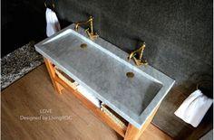 x Double Trough Carrara white Marble Bathroom Sink - LOVE Carrara Marble Bathroom, White Marble Bathrooms, Undermount Bathroom Sink, Bathroom Sink Faucets, Vanity Sink, Honed Marble, Bathroom Countertops, Grey Bathrooms, Modern Bathroom