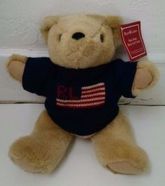 Vtg Ralph Lauren Teddy Bear That Cares 1996 W/ Tags Navy Blue Sweater Jointed #RalphLauren