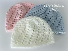 Baby Beanies Crochet Pattern, Size 0-3 Months, $1.75