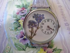 Forget Me Not, Purple Wrist Watch, Womens Watch, Wrist Watch for Women, Flower Watch by PurplePetalStudio on Etsy