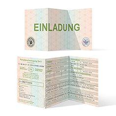 Einladungen (30 Stück) als Fahrzeugschein Klappkarte Zulassungsbescheinigung Einladungskarten