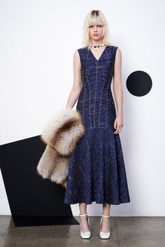 Derek Lam Resort 2016 Fashion Show. great dress, and hope that's faux fur