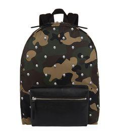 ALEXANDER MCQUEEN Camouflage Skull Backpack. #alexandermcqueen #bags #leather #canvas #nylon #backpacks #