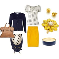 Navy & Yellow outfit for work