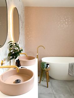 Pink bathroom goals 😍 Well hello there pretty bathroom! Its been a while since we've seen this beautiful space in Nat's norsu home. Those heavenly @perinitiles the incredible @sussextaps gold taps, @noodcoconcrete basins and the divine @ingraindesigns vanity. Together they make absolute magic. Check out our instagram stories for a little tour, its definitelty worth seeing! 😍😍😍 #norsuhome #bathroom #styling #bathroomideas