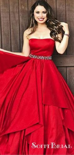 76b6fc40aab6 A-Line Sweetheart Long Red Satin Prom Dresses with Beading&Ruffles,  TYP0035 #