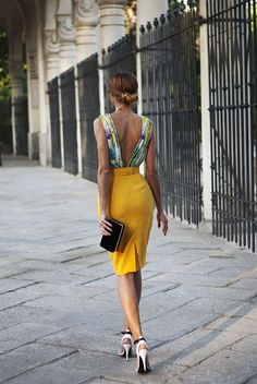 Back yellow summer nite fashion