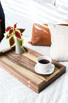 How to make a DIY wood and resin inlay coffee tray