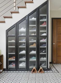 7 Amazing Shoe Storage Ideas From Real Homes is part of Storage furniture bedroom - Whether you're into sneaks or stilettos, there's a storage solution for every shoe collection Shoe Storage Furniture, Closet Shoe Storage, Stair Storage, Diy Storage, Wall Storage, Wardrobe Storage, Diy Organization, Diy Shelving, Shoe Storage Ideas Bedroom