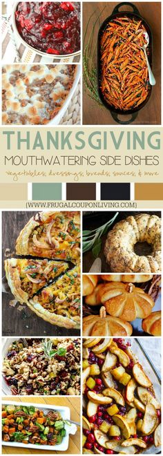 A must have list of Mouthwatering Thanksgiving Side Dishes on Frugal Coupon Living plus Thanksgiving Tablescapes, Fall Kids Food Crafts, and more!