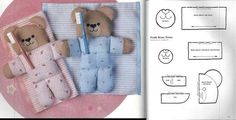 FELTRO MOLDES ARTESANATO EM GERAL Sewing For Kids, Baby Sewing, Felt Dolls, Baby Dolls, Bear Toy, Teddy Bear, Sewing Hacks, Sewing Projects, Soft Toys Making